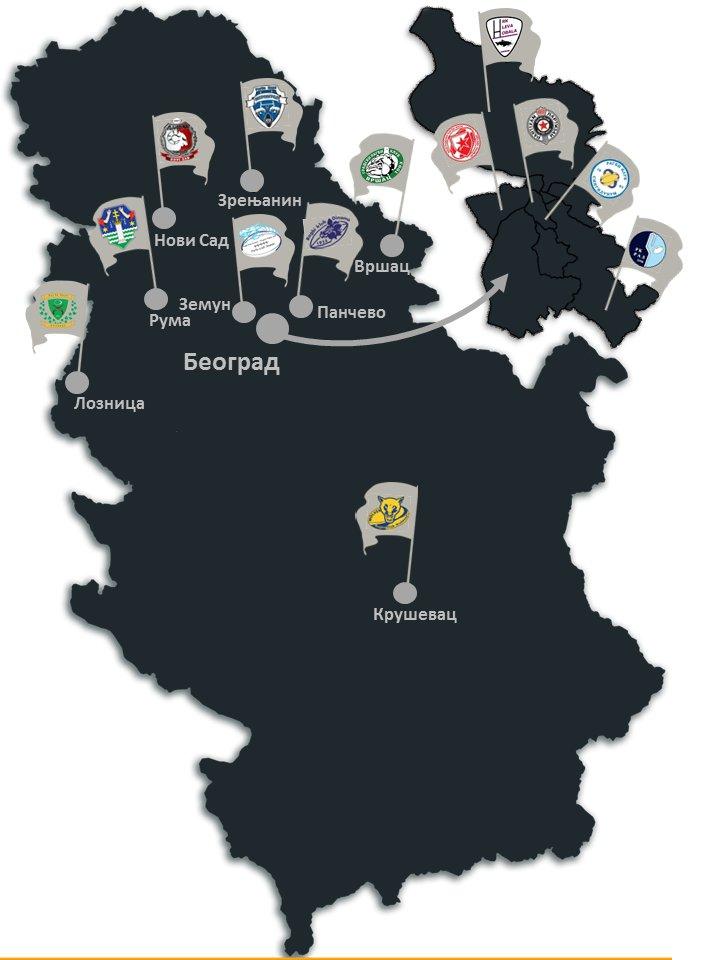 Mapa ragbi klubova u Srbiji